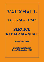 Vauxhall 14 h.p. Model J Factory Workshop Service Repair Manual Download pdf